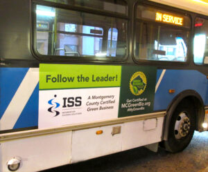 ISS Featured on Montgomery County Ride-On Bus as a Green Cerrified Business
